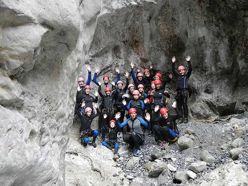 Klassenfahrt Rafting, Canyoning, Klettersteig