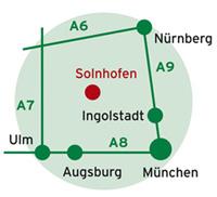 Solnhofen liegt zwischen München, Nürnberg und Augsburg